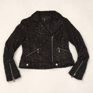INC International Concepts Jackets & Coats - INC motorcycle black gold jacket small sequence